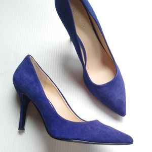 Nine West • Flax blue suede pointy toe pumps